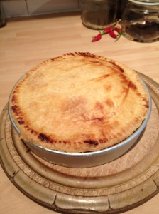 Leave the pie in the tin for 20-30 minutes
